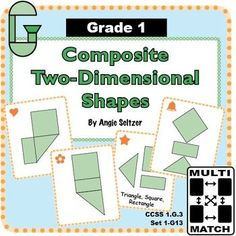 "This set of printable Multi-Match game cards will help students learn to visualize parts of composite shapes (CCSS 1.G.2). The ""1G"" in the title stands for Grade 1, geometry domain. This is one of dozens of card sets for primary concepts. ~by Angie Seltze"