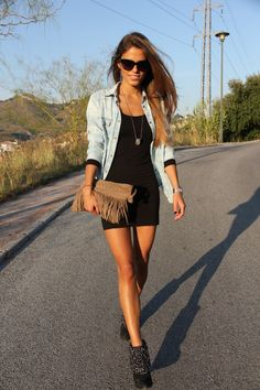 little black dress with denim shirt over - casual outfit