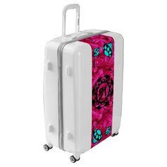 #pink - #Blue Diamonds Monogram with Pink Flowers Luggage