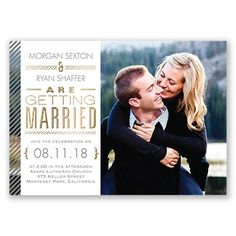 Your photo paired with a unique typography layout featuring beautiful gold foil is nicely complemented by the pinstriped border on this foil wedding invitation. Your monogram appears with a matching pinstripe design on the back of this two-sided card. Select wording is printed in your choice of colors and fonts. Pinstripes are printed in your choice of color. Invitation includes inner and outer envelopes. Gold foil is only printed on the front of this double-sided invitation.