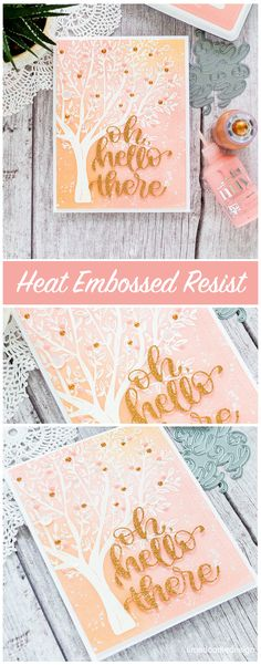 Delicately blended inks over a white heat embossed tree. Handmade card by Debby Hughes using the Brushed Branches set from Simon Says Stamp. Find out more here: http://limedoodledesign.com/2018/01/pastel-tree/