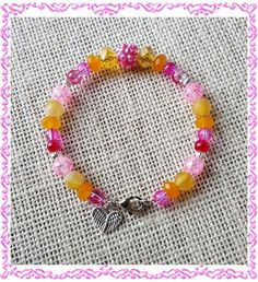 Pink & Yellow Glass Crystal Jade and Agate by LangFamilyJewelry