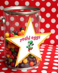 Yoshi Eggs for a Super Mario Party Super Mario Bros, Super Mario Party, Super Mario Birthday, Mario Birthday Party, 6th Birthday Parties, Birthday Party Favors, Birthday Ideas, 21st Birthday, Mario Party Games