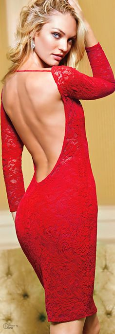 Victoria's Secret Red Open Back Lace Dress ♥ Candice Swanepoel ♥ Candice Swanepoel, Red Fashion, Look Fashion, Womens Fashion, Fashion Clothes, Modelos Victoria Secret, Dress Skirt, Dress Up, Prom Dress
