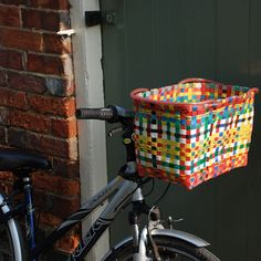 I need to make a bike basket for the girl - before school starts in the fall. Maybe weaving duct tape will have a similar effect?