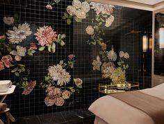 Bathroom with floor backsplash wall tiling