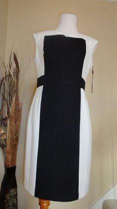 CALVIN KLEIN IVORY OFF WHITE & BLACK COLORBLOCK TRENDY DRESS SZ 10 MSRP $129 #CalvinKlein #Sheath #Cocktail