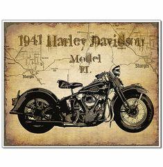 1941 Vintage Harley Davidson Motorcycle by VintageMotorcycle.- 1941 Vintage Harley Davidson Motorcycle by VintageMotorcycleArt - Vintage Harley Davidson, Harley Davidson Posters, Harley Davidson Wallpaper, Classic Harley Davidson, Harley Davidson Motorcycles, Motos Vintage, Vintage Motorcycles, Vintage Bikes, Vintage Cars