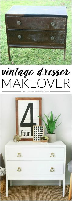 Vintage Dresser Makeover by @craftedsparrow using Americana Decor Satin Enamels. We are in love with this transformation! From trash to CHIC!