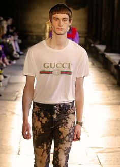 The Gucci Print T: A reworked House logo from the 80s featuring red and green bands, interlocking Gs and Gucci capitalized defines the collection's T-shirts and sweatshirts.