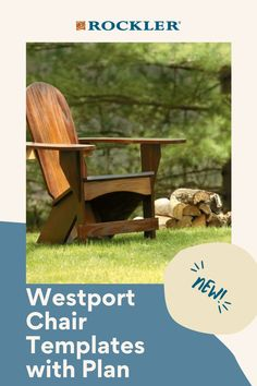 Extra-wide armrests and Adirondack-style geometry provide amazing comfort. Buy the optional stainless hardware for convenience and durability! #CreateWithConfidence #Westport #Adirondack #ChairTemplate #WoodworkingPlan Woodworking Plans, Woodworking Projects, Templates, How To Plan, Chair, Stencils, Wood Effect Worktops, Vorlage, Stool