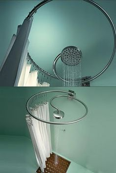 Spartan shower, but very clever. For a pool bath or an outdoor shower, especially.