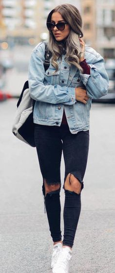 Washed Denim On Black Denim Fall Street Style Inspo