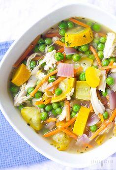 Lemony Paleo Chicken & Veggie Soup Recipe - Added tomatoes & jalapeno