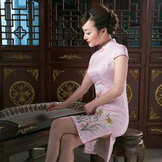 Sweet Lily Flowers Embroidery Qipao Cheongsam Dress - Pink - Qipao - Cheongsam - Women