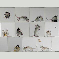 RH1-14k Muizen familie, ieder muis wordt op 1 Fries witje geschilderd