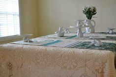 Sweethearts & Sweet Tarts: A Spring Bunny Tablescape and My Grandmother's Crocheted Bedspread