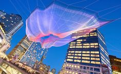 "Janet Echelman string sculpture: ""Skies Painted with Unnumbered Sparks,"" Vancouver, Canada, March 2014 Interactive Architecture, Interactive Art, Janet Echelman, Boston Public, Aerial Arts, Virtual Art, Urban Setting, Giza, Fotografia"