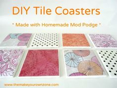 DIY Tile Coasters - Easy and Cheap! You need ceramic tiles, scrapbook paper and mod podge Idées Mod Podge, Mod Podge Crafts, Diy Projects Plans, Diy Craft Projects, Diy Crafts, Tile Projects, Handmade Crafts, Project Ideas, Paper Crafts