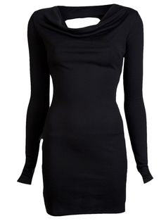Black Long Sleeve Open Back Dress, If I was not pregnant, I would totally wear this.