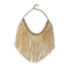 Ellebj Fringe Collar Necklace found on Polyvore