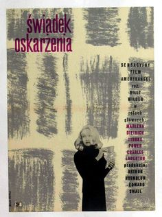 Witness for the Prosecution (1957) Polish Poster - Starring Tyrone Power, Marlene Dietrich, and Charles Laughton. Directed by Billy Wilder