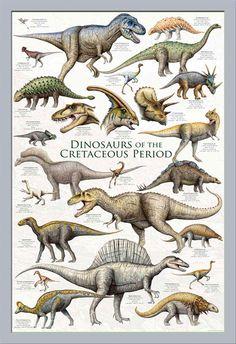 Educational-Dinosaurs-Cretaceous-Period-Dinosaurier-Poster-Druck-61x91-5-cm