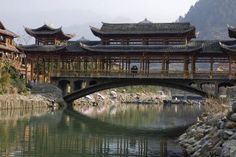 Picture of One of the bridges over the river at Xijiang village-China