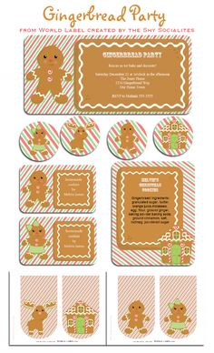 Free Printable Gingerbread Party Set with Labels by @Tricia-rennea Wilson Cookie Exchange Party, Christmas Cookie Exchange, Christmas Tag, Christmas Labels, Free Christmas Printables, Christmas Gingerbread, Free Printable Invitations, Printable Templates, Party Printables