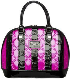 HELLO KITTY STRIPED PURSE PINK/BLACK    Make a big bold statement with this Hello Kitty Purse! This black & pink striped shiny vinyl purse features embossed bows & Hello Kitty faces, sturdy base with circular metal feet, double zipper pulls & removable pink bow.    $68.00