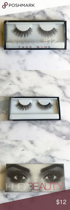 Huda Beauty Faux Mink Lashes: Farah #12 These unworn false lashes feature 3 intricate layers, which help accentuate the fluffiness of the lash while giving you drama in a soft yet incredibly beautiful way. Glue sold separately. Huda Beauty Makeup False Eyelashes