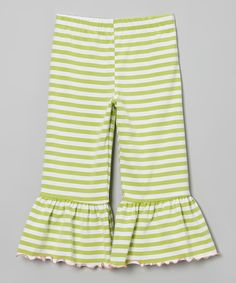 Look what I found on #zulily! Green Stripe Ruffle Capri Pants - Toddler & Girls by SILLY MILLY #zulilyfinds
