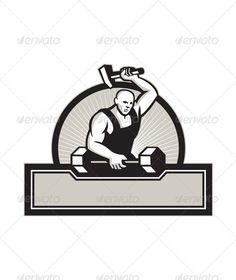 Blacksmith With Hammer Striking Barbell  #GraphicRiver         Illustration of a blacksmith with hammer forging striking a barbell set inside circle on isolated white background. Editable EPS8 (you can use any vector program), JPEG and Transparent PNG (can edit in any graphic editor) files are included.     Created: 3February13 GraphicsFilesIncluded: TransparentPNG #JPGImage #VectorEPS Layered: No MinimumAdobeCSVersion: CS Tags: artwork #barbell #blacksmith #circle #dumbbell #forge #graphics…