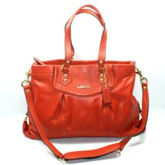 #Coach Ashley Leather Carryall Handbag/ Shoulder Bag (orange) #19243 $330.00 http://www.azondealextreme.info/clothing/handbags/coach-ashley-leather-carryall-handbag-shoulder-bag-orange-19243-330-00-orange-leather-beige-fabric-on-the-inside-zipper-closure-zipper-pouch-within-lots-of-compartments-gold-hardware/ - Orange leather - Beige fabric on the inside - Zipper closure - Zipper pouch within - Lots of compartments - Gold hardware - (L) 16 x (H) ...