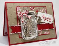 Stampin' Up! Jar of Cheer Meets Candy Cane Christmas by Jari - Cards and Paper Crafts at… Christmas Paper Crafts, Homemade Christmas Cards, Christmas Jars, Christmas Cards To Make, Xmas Cards, Handmade Christmas, Homemade Cards, Holiday Cards, Stampinup Christmas Cards