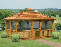 Exterior In Vogue Single Roof Rectangle Enclosed Gazebo Wooden Fencing As Decorate Outdoor Gardening Alluring