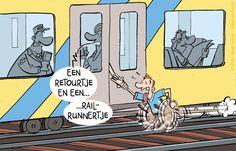 De cartoon van @argusonline: - Veel overlast door mensen die te laat instappen.