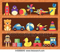 38d5bb27f15276 Clipart - Kids toys on wood shop shelves. Fotosearch - Search Clip Art