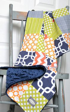 Baby Blanket Modern Baby Quilt  Navy Blue Lime by GiggleSixBaby, $100.00