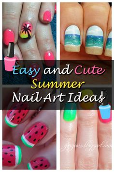Easy and Cute Summer Nail Art Ideas! #nails #nailart #polish #manicure - See more nail looks at bellashoot.com share your faves!