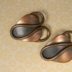 Copper Earrings, Rebajes, Signed, 50s Modern Vintage