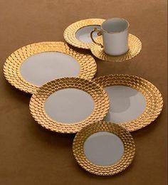 Aegean Sculpted Gold dinnerware, as seen in House Beautiful.