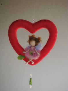 Needle felted mobile with waldorf inspired little fairy sitting on a heart. The fairy is about 4 tall sitting. Design Zuzana Hochman Thank you for visiting my shop Felt Diy, Felt Crafts, Diy And Crafts, Arts And Crafts, Diy Laine, Needle Felted, Waldorf Dolls, Felt Dolls, Mother Nature