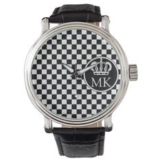 #black - #Monogrammed RF Royal Black Checkered Watch