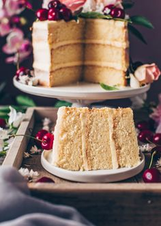This is the best Vegan Vanilla Cake recipe! It's a fluffy, soft and moist vanilla layer cake with simple buttercream frosting. Easy to make and delicious! Vegan Buttercream Frosting, Whipped Cream Frosting, Vegan Vanilla Cake, Vegan Cake, Aquafaba, Chocolate Cake Toppers, Strawberry Cream Cakes, Vegan Cream Cheese, Cupcakes