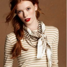 Love the necklaces and scarf with a simple tee.