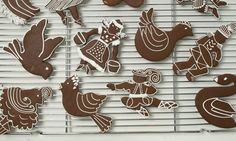 Gingerbread birds trees drummer boy swans and other holiday cookie shapes