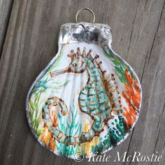 Seahorse ornament Kate McRostie coastal by KateMcRostieHandmade Seashell Painting, Seashell Art, Seashell Crafts, Beach Crafts, Oyster Shell Crafts, Oyster Shells, Sea Shells, Seashell Ornaments, Painted Ornaments