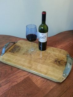 Wine Barrel Serving tray.  Made from wine barrel head and the wine barrel hoops.    reclaimed, upcycled, recycled