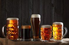Beer glasses with lager, dark lager, brown ale, malt and stout beer on table, dark wooden background Most Popular Beers, Canadian Beer, Pale Ale Beers, Best Craft Beers, Beer Lovers, Brewing, Drinks, Alcoholic Beverages, Mugs